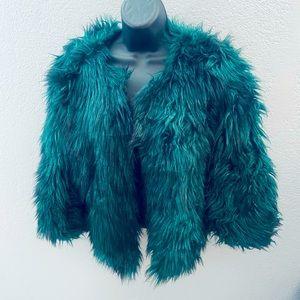 Guess Green Faux Fur Jacket